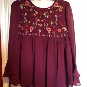 Burgundy Embroidered Blouse